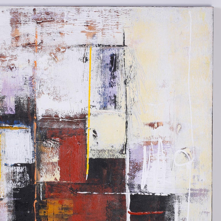Mid-Century Modern Large Abstract Oil Painting on Canvas For Sale