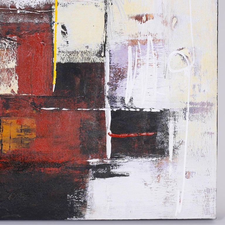 American Large Abstract Oil Painting on Canvas For Sale