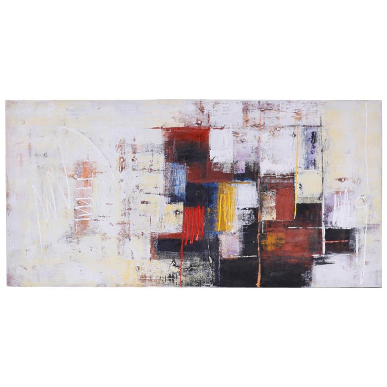 Large Abstract Oil Painting on Canvas For Sale