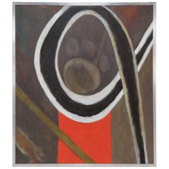 """Large Abstract Oil Painting Titled """"U.v. ix"""" by Polly Doyle, 1973"""