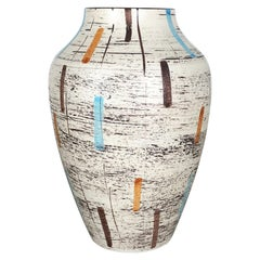 Large Abstract Op Art Pottery Floor Vase Made by Bay Ceramics, Germany, 1960s