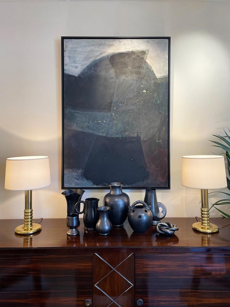 A large abstract painting by Kari Mjåtveit (Sweden, Born 1957). Oil on board. Signed KM. Last quarter of the 20th century. In a new modern tray frame.