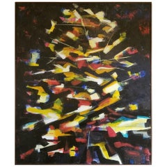 Large Abstract Painting by R. J. Serrano