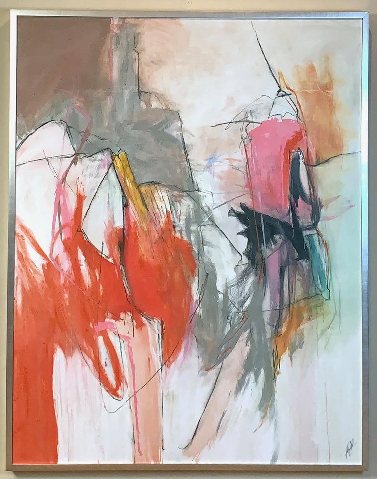 A large acrylic on canvas abstract painting with large splashes of orange, pink and gray on an off-white ground set in a simple silver leaf frame.