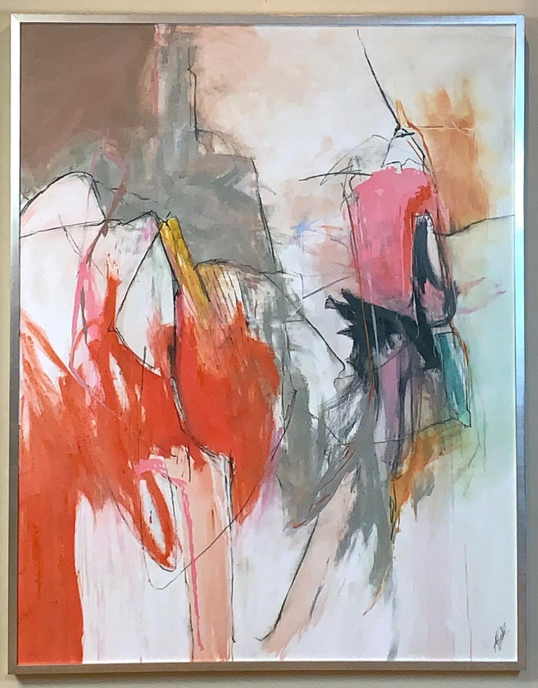 Unknown Large Abstract Painting in Oranges, Pinks and Grays For Sale