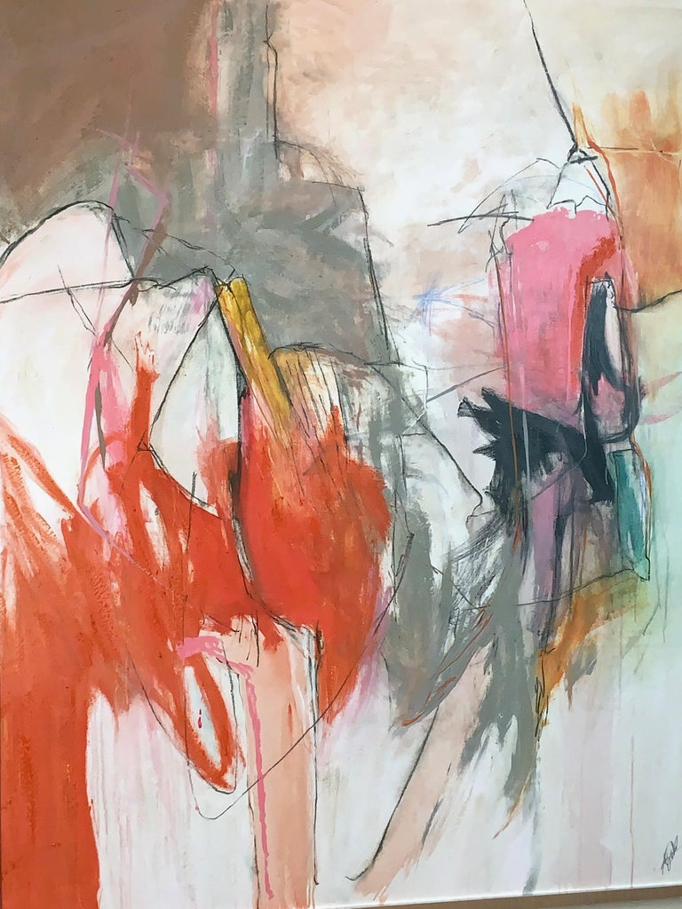 Hand-Painted Large Abstract Painting in Oranges, Pinks and Grays For Sale