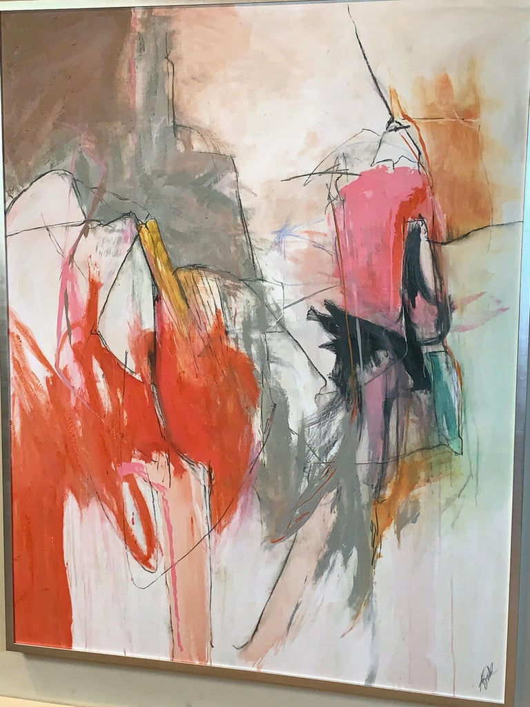 Large Abstract Painting in Oranges, Pinks and Grays In Good Condition For Sale In Kilmarnock, VA
