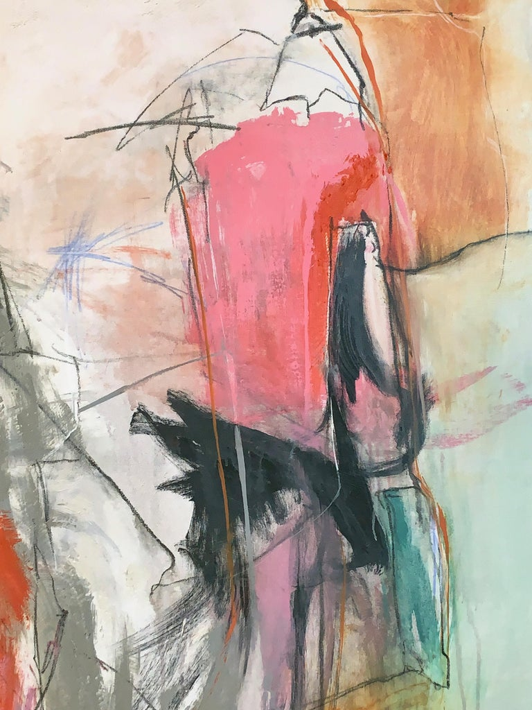 Contemporary Large Abstract Painting in Oranges, Pinks and Grays For Sale