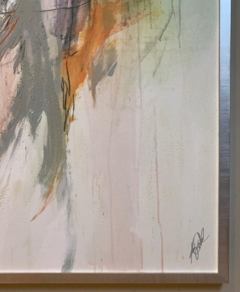 Large Abstract Painting in Oranges, Pinks and Grays For Sale 1