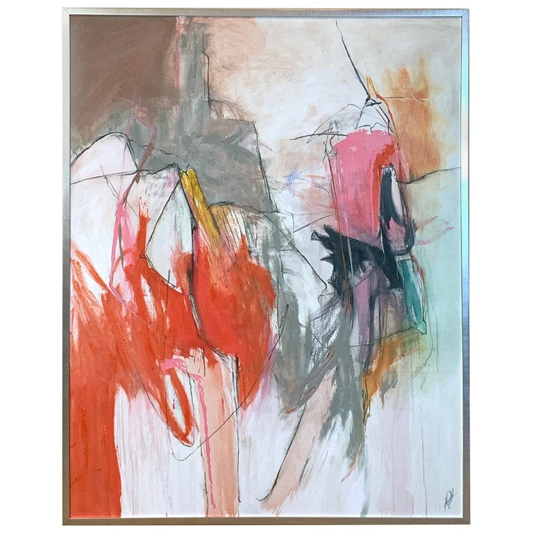 Large Abstract Painting in Oranges, Pinks and Grays For Sale