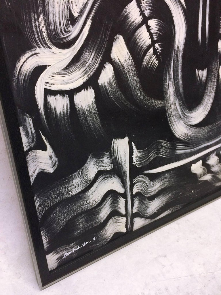 Energetic black and white abstract oil painting on panel. White brush strokes on a black ground produce an enigmatic almost surrealist feeling .
