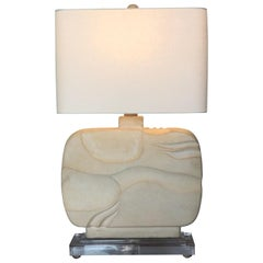Large Abstract Plaster Table Lamp, 1980s