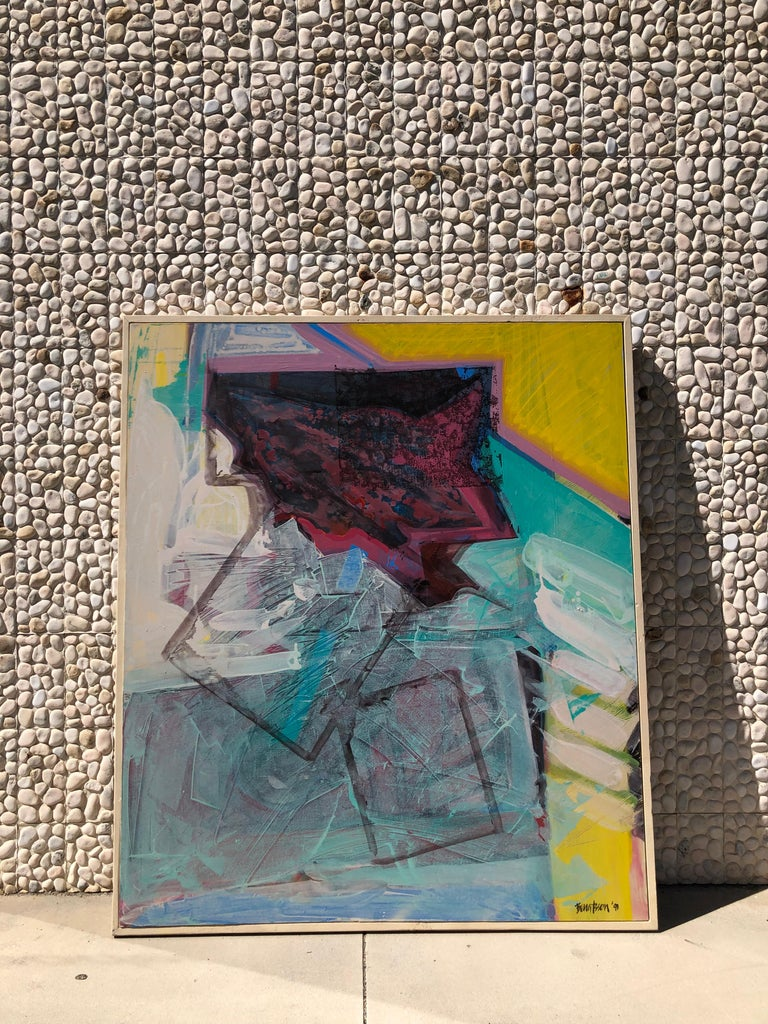 Painted Large Bright Abstract Painting from a Modernist Palm Springs Estate For Sale