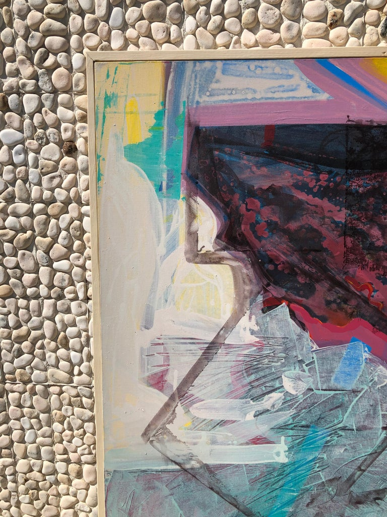 Large Bright Abstract Painting from a Modernist Palm Springs Estate In Good Condition For Sale In Palm Springs, CA