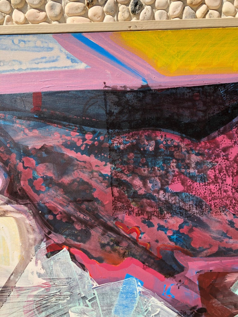 Late 20th Century Large Bright Abstract Painting from a Modernist Palm Springs Estate For Sale