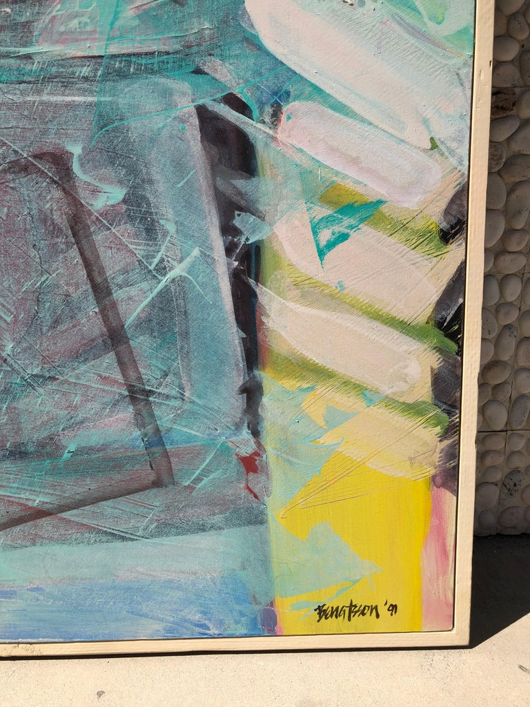 Canvas Large Bright Abstract Painting from a Modernist Palm Springs Estate For Sale