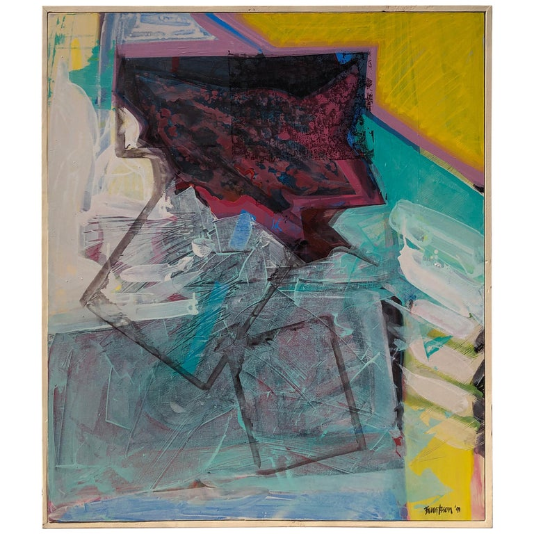 Large Bright Abstract Painting from a Modernist Palm Springs Estate For Sale