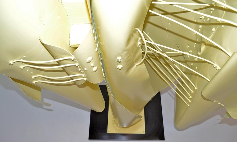 Large Abstract Folded Metal Sculpture by Victor Roman, 1970's For Sale 1