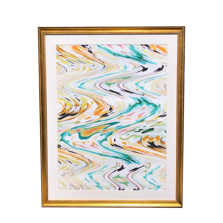 Large Abstract Vibrant Color Gold Framed Print In Linen