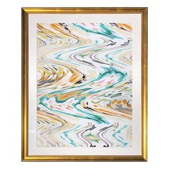 Large Abstract Vibrant Color Gold Framed Print in Linen Matt by Nancy Ramirez