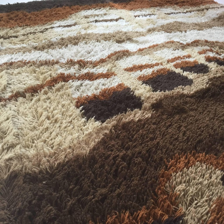 Large Abstract Vintage 1970s Modernist Multi-Color High Pile Rya Rug by Desso For Sale 3