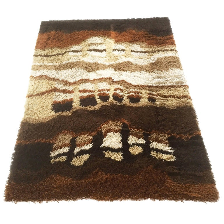 Large Abstract Vintage 1970s Modernist Multi-Color High Pile Rya Rug by Desso For Sale