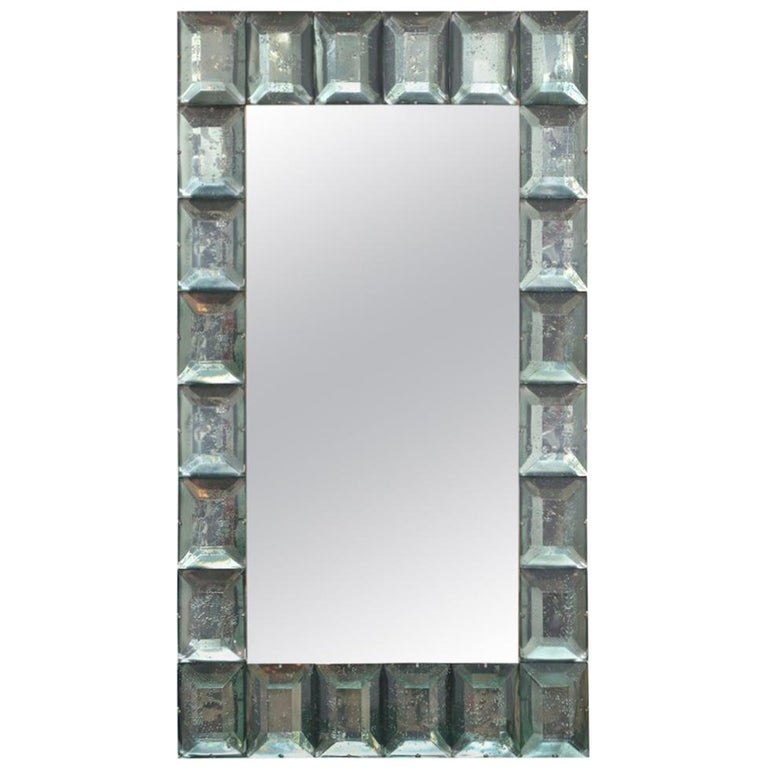 Large Sea Green Diamond Murano Glass Mirror, In Stock. For Sale