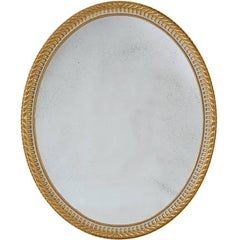 Large Adam Style Oval Mirror Finish in 22-Karat Gold and Grey