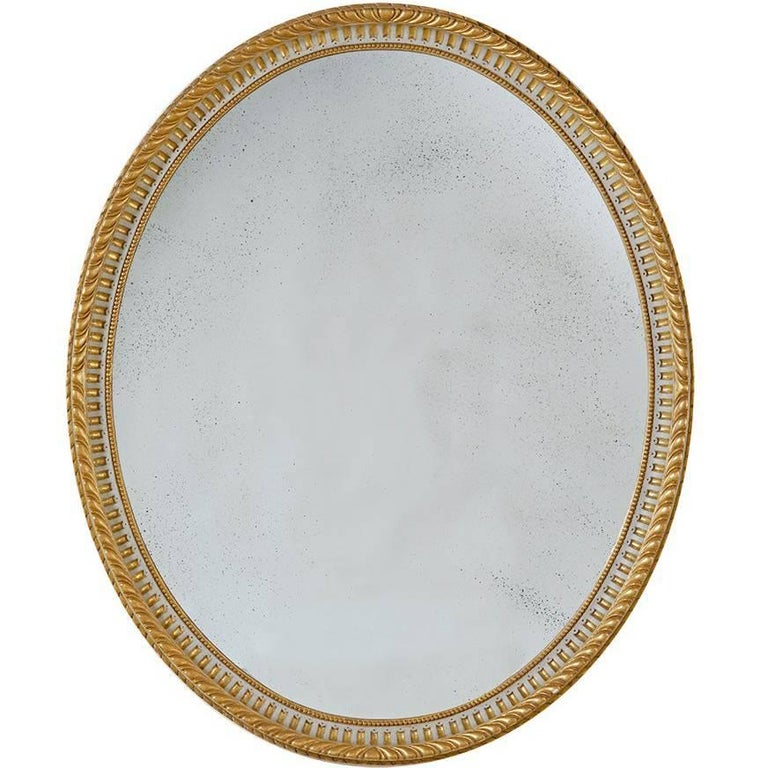 Large Adam Style Oval Mirror Finish in 22-Karat Gold and Grey For Sale