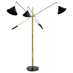 Large Adjustable Black Italian Triennale Floor Lamp Brass and Marble