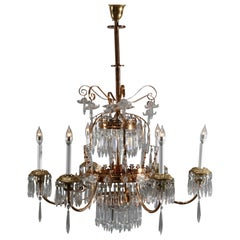 Large Aesthetic Eastlake Crystal and Brass 6-Arm Chandelier, circa 1870