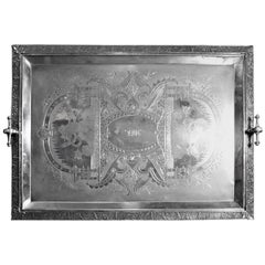Large Aesthetic Movement Silver Plated Serving Tray with Warriors and Serpents