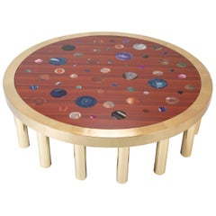 Large Agate Inlaid Sapelle and Brass Coffee Table