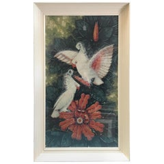 "Post-War Billy Seay ""Lovers"" Cockatoo Art Print for Turner, Framed"