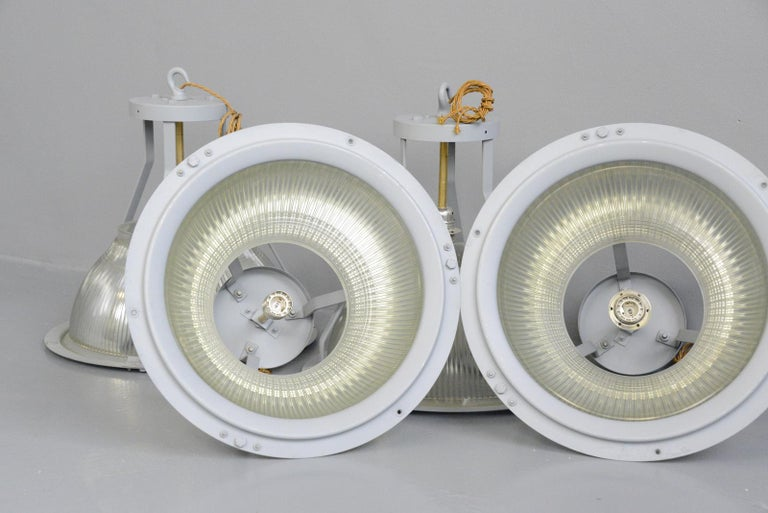 Large Aircraft Hanger Lights by Holophane, circa 1940s For Sale 3