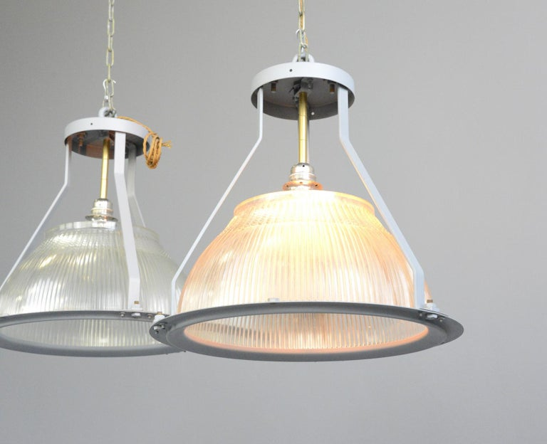 Industrial Large Aircraft Hanger Lights by Holophane, circa 1940s For Sale