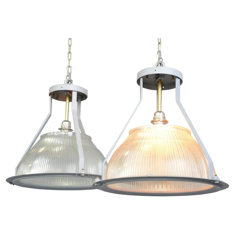 Large Aircraft Hanger Lights by Holophane, circa 1940s For Sale