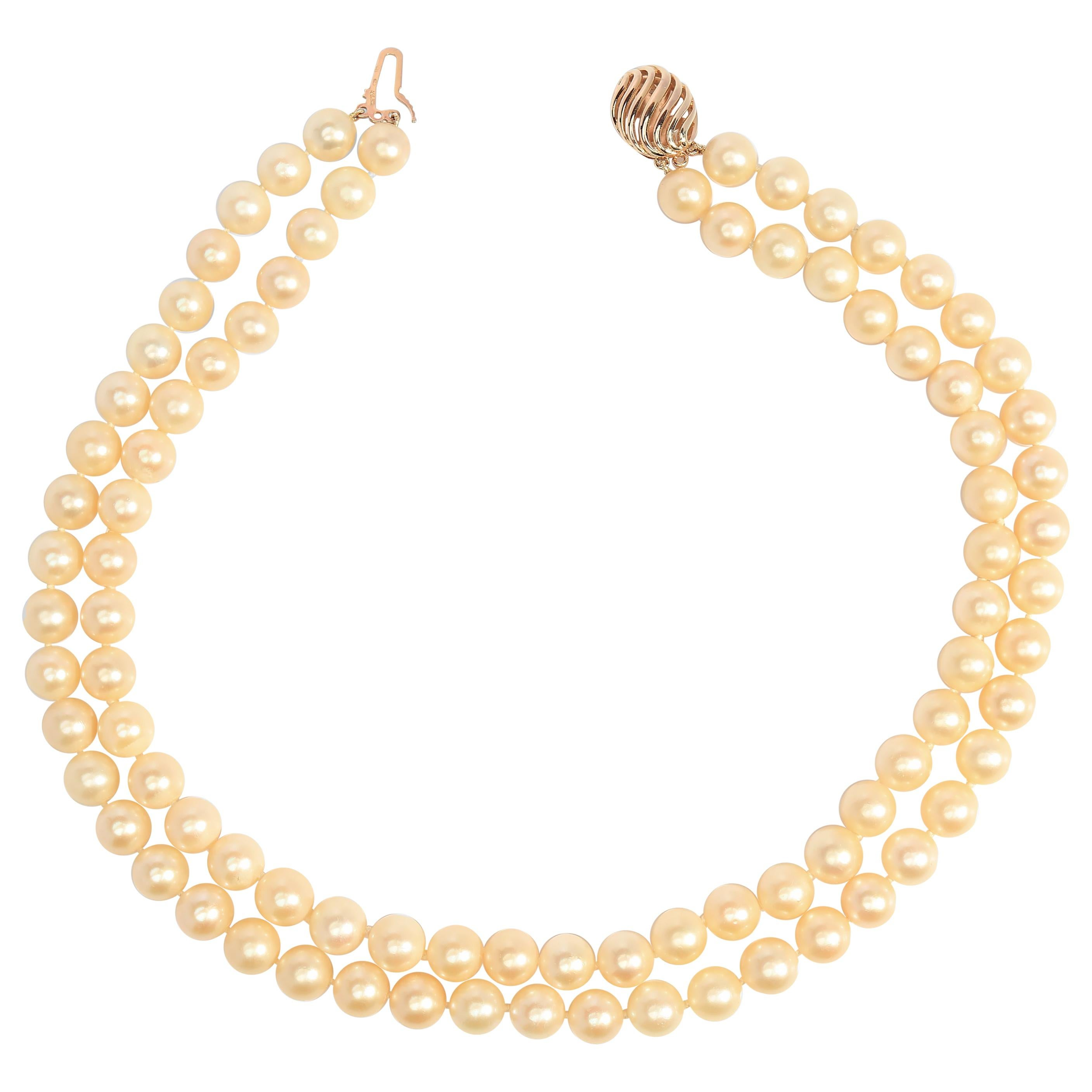 Large Akoya Pearl Double Strand Necklace