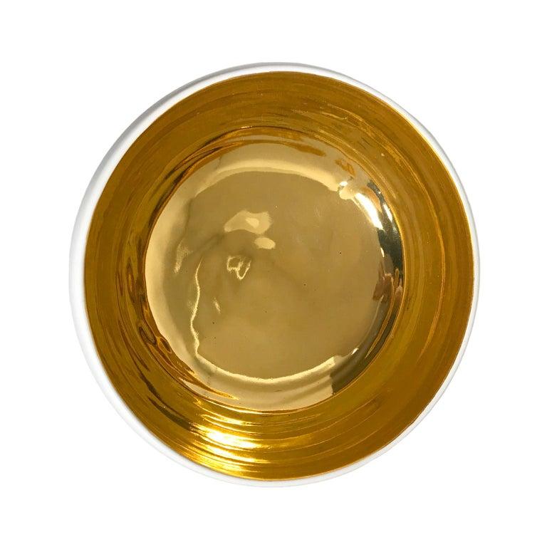 American Large Alabaster and 22-Karat Gold Glaze Curved Ceramic Bowl by Sandi Fellman For Sale