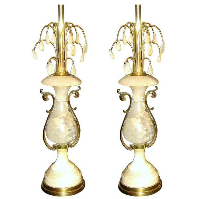 Large Alabaster Lamps with Bronze Details