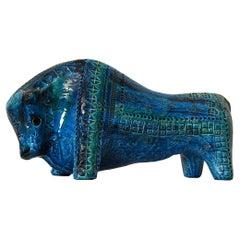 Large Aldo Londi Bitossi Rimini Blue Bull Italy, 1960s