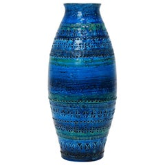 Large Aldo Londi for Bitossi Rimini Blue Glazed Ceramic Vase