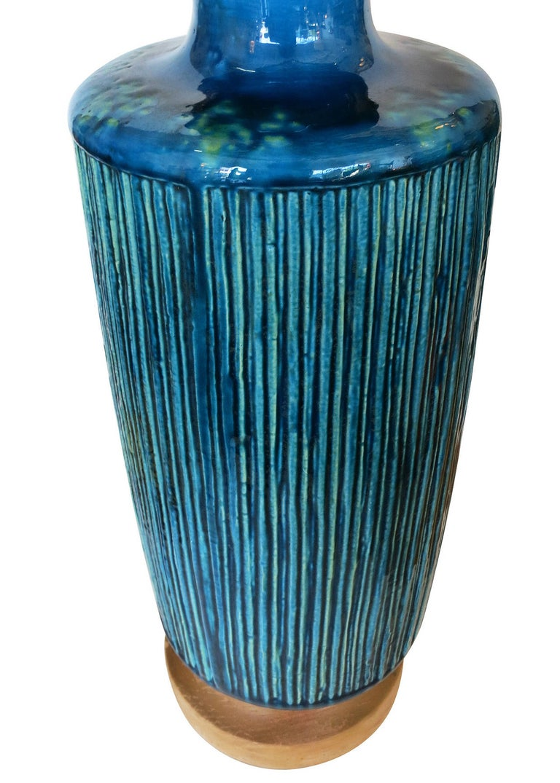 Mid-Century Modern Large Aldo Londi Style Blue Rimini Art Pottery Lamp For Sale