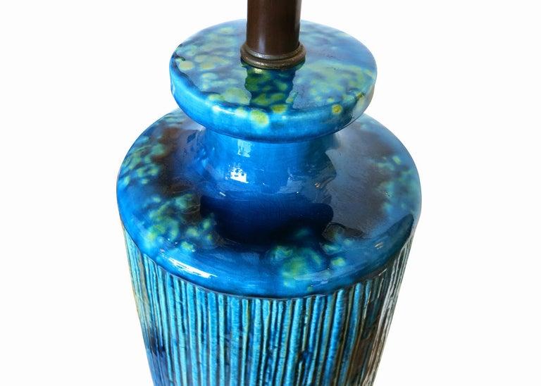 American Large Aldo Londi Style Blue Rimini Art Pottery Lamp For Sale