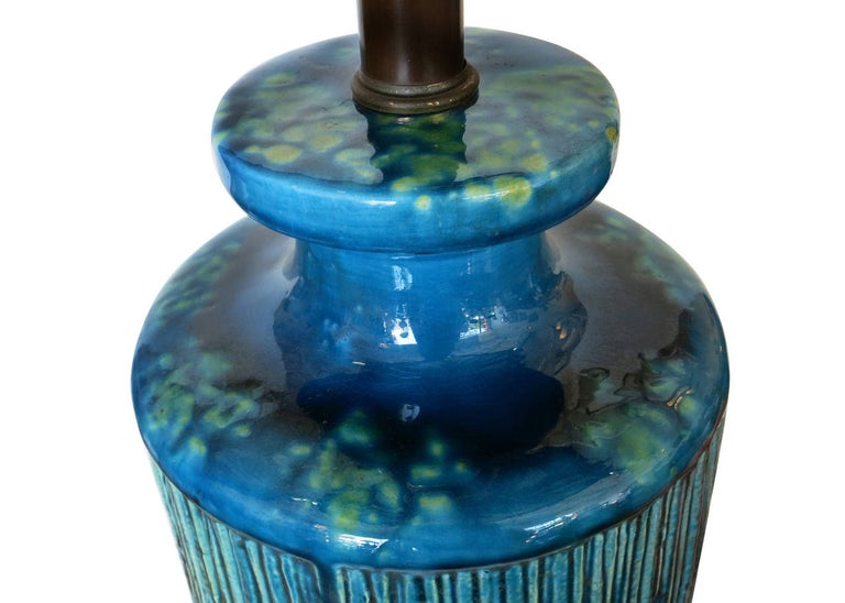 Large Aldo Londi Style Blue Rimini Art Pottery Lamp In Excellent Condition For Sale In Van Nuys, CA