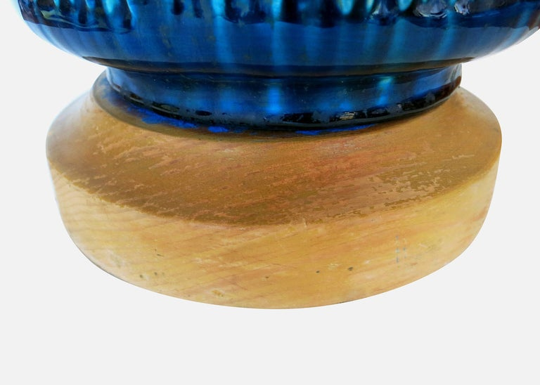 Mid-20th Century Large Aldo Londi Style Blue Rimini Art Pottery Lamp For Sale