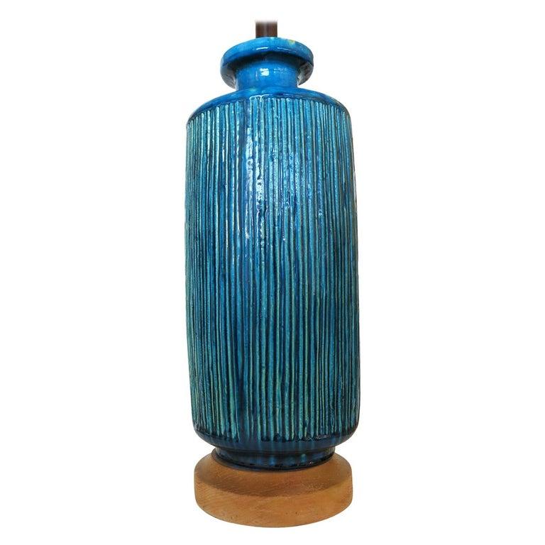 Large Aldo Londi Style Blue Rimini Art Pottery Lamp For Sale