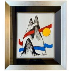 Large Alexander Calder circa 1970 Limited Edition Lithograph Mountain and Sun