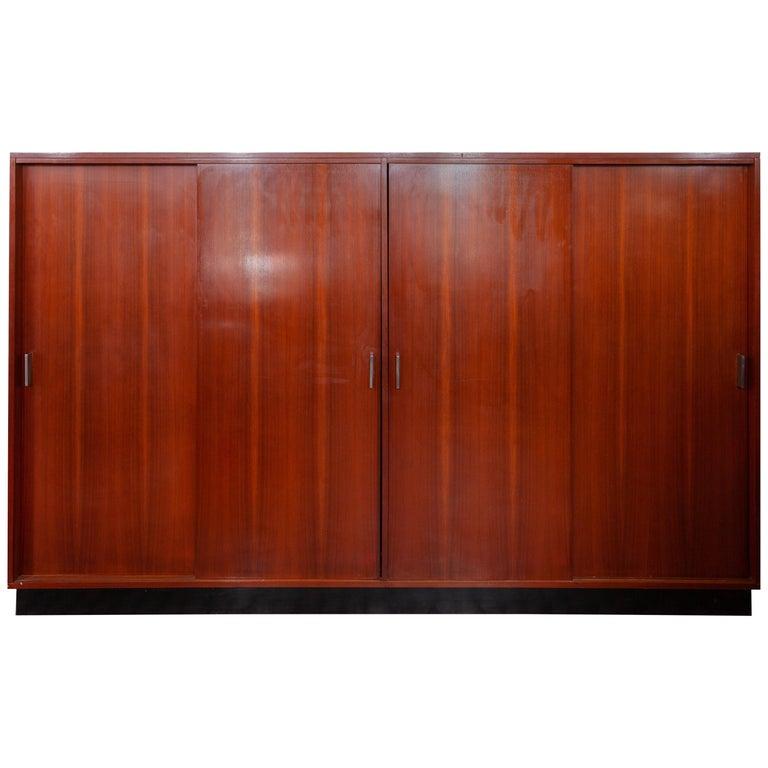 Large Alfred Hendrickx Four Doors Wardrobe/ Cabinet, 1962 Belgium For Sale