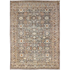 Large All-Over Gray and Orange Persian Malayer Rug with All-Over Floral Design